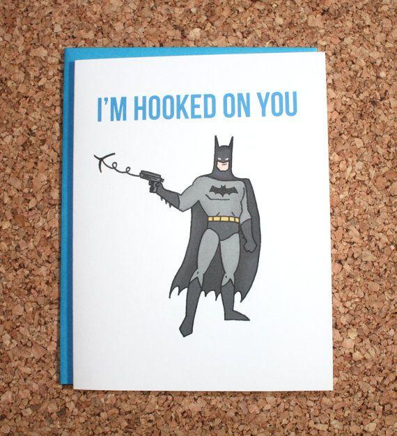 Batman Card Im hooked on you Valentine anniversary card – Batman Valentines Day Card
