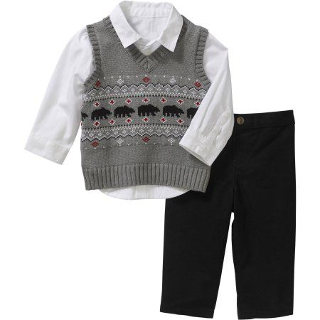 99c234a0415d George Newborn Baby Boy Sweater Vest, Shirt & Pant Outfit Set, Size: