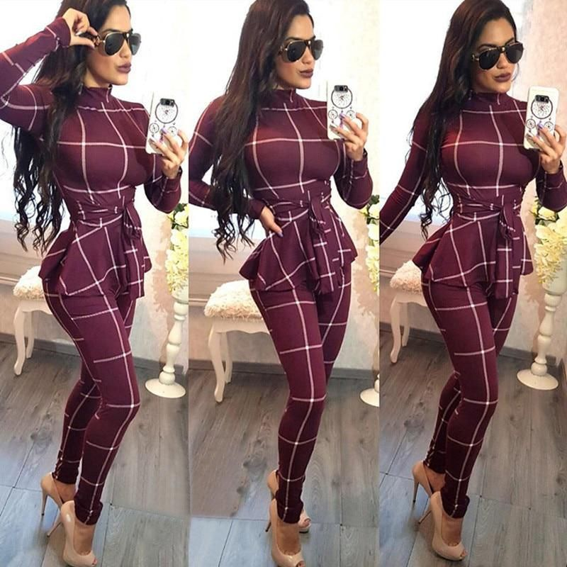 Plaid Print Bodycon Jumpsuit Women Turtleneck Long Sleeve Peplum One Piece Overalls #casualjumpsuit