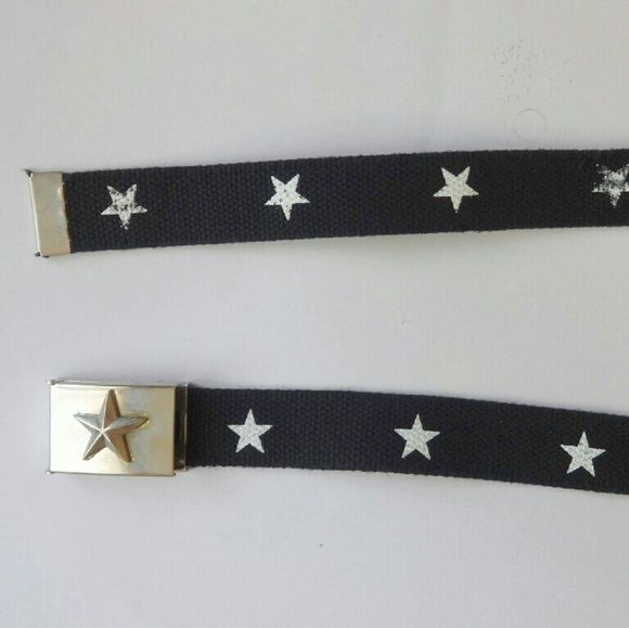 "Metal Clamp Belt Nautical star metal clamp tooth buckle, black with white stars every few inches. Can fit any size. 50"" long Accessories Belts"
