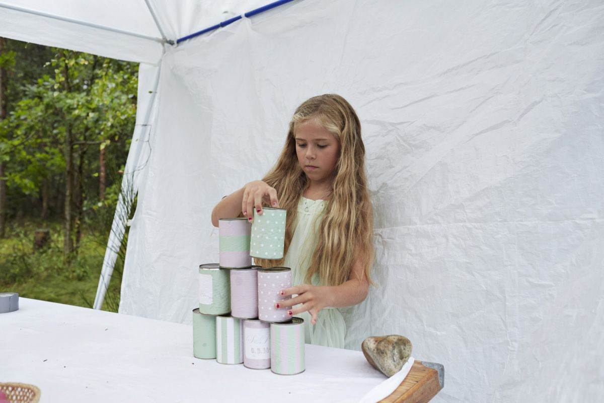 Tin can game, wedding, DIY, mint and pink, reseption fun, kids… | Wedding tin can game / garden ...