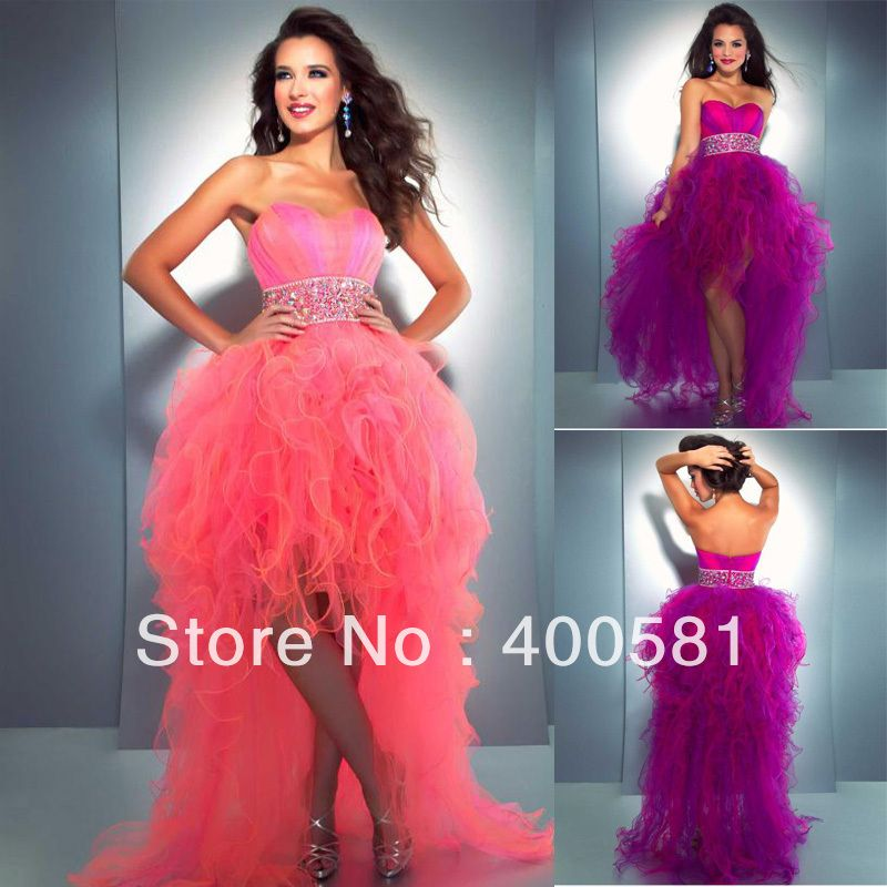 Purple High Low Prom Dresses Cheap