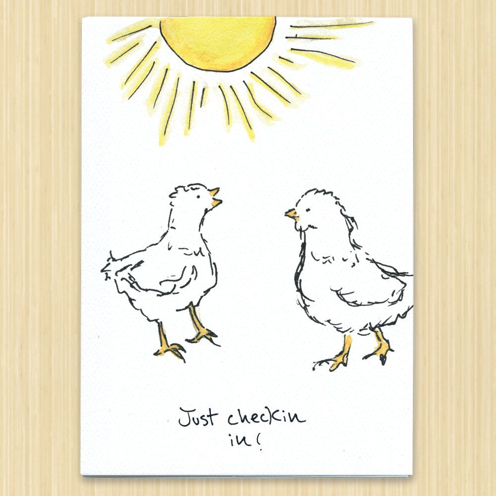 """Chicken greeting card """"Just Chekin in"""", Sunny card, Hello greeting card, friendship note card by Rosieswonders on Etsy"""