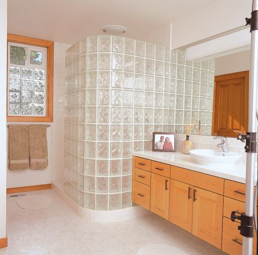 Walk In Door Less Glass Block Shower Constructed With A Variety Of Block Sizes From Pittsburgh Beautiful Houses Interior Bathrooms Remodel Glass Block Shower