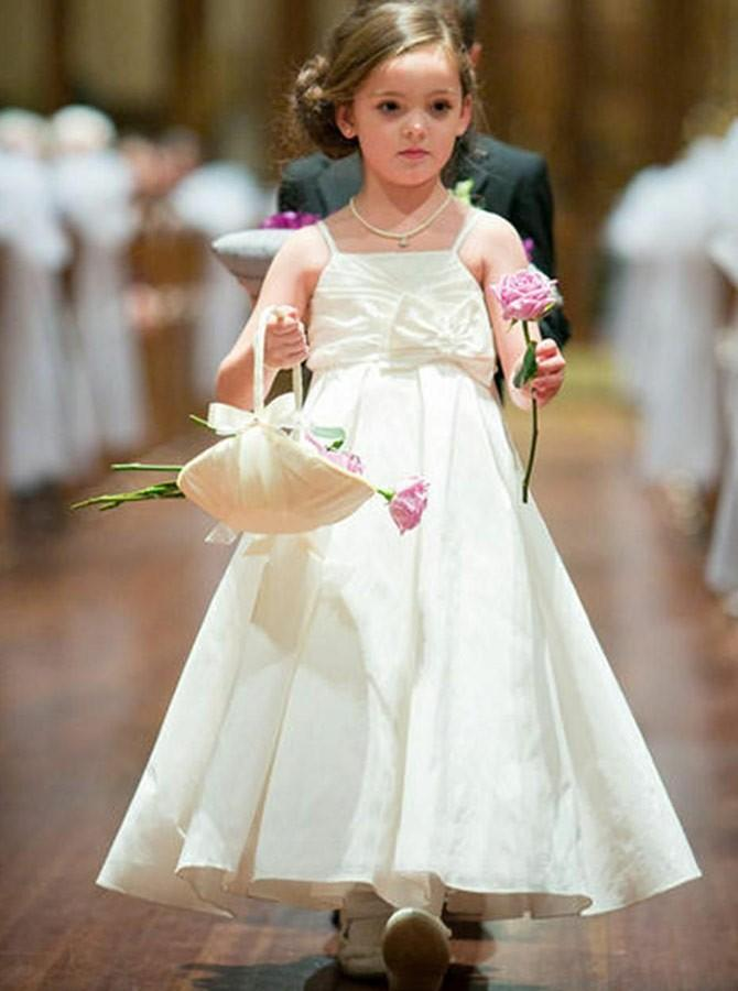 b69c34739a5 White Spaghetti Strap Satin Long Flower Girl Dresses With Bow in ...