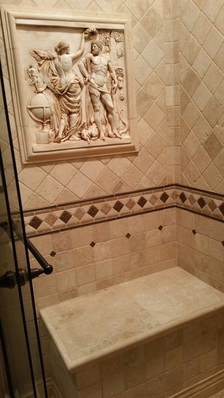 Travertine Tiles Wall Plaque And Bench In Shower 2019