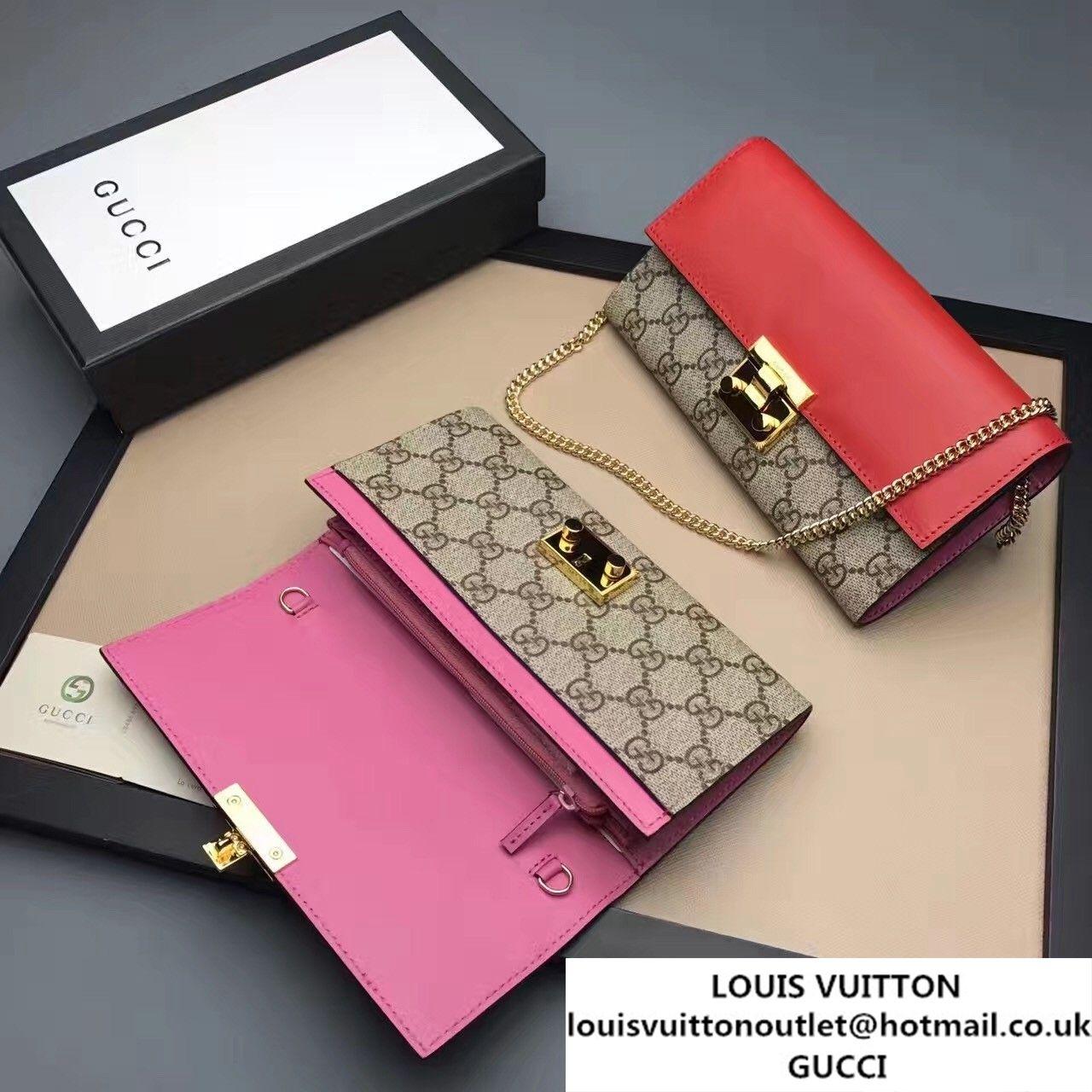 c64f89017a1 Gucci Padlock GG Supreme Continental Chain Wallet Bag 453506 Red Dark Pink  2017