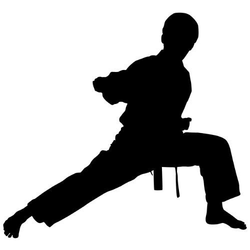 Martial arts wall decal sticker karate sports silhouette for Decoration chambre karate