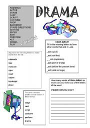 Printables Drama Worksheets english teaching worksheets drama words ...