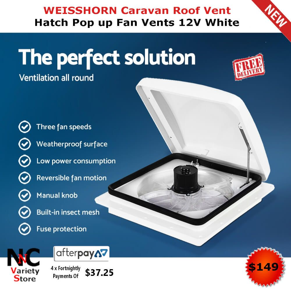 Weisshorn Caravan Roof Vent Hatch Pop Up Fan Vents 12v White Fan Vent Roof Vents Insect Mesh