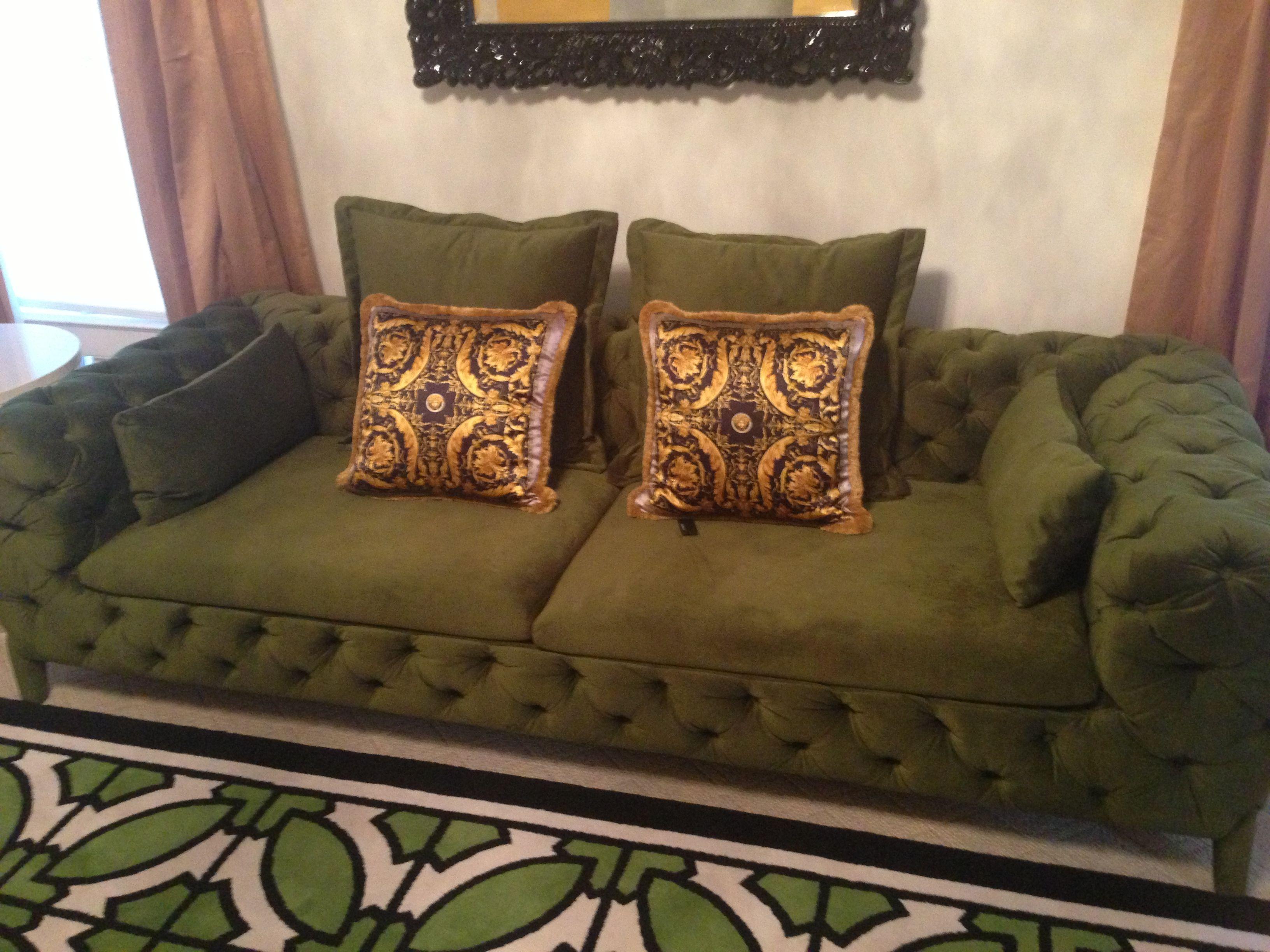 Versace Pillows And Atlanta Lifestyle Furnishing Tufted Sofa And Custom Rug Tufted Sofa Custom Rugs Furnishings #versace #living #room #rug