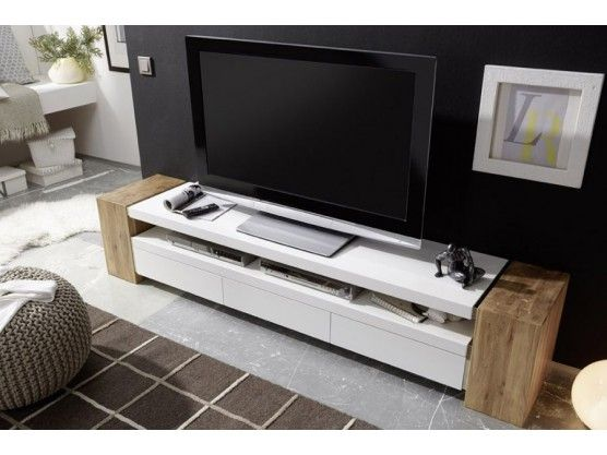 meuble tv design en bois massif chne 3 tiroirs blanc laqu jule 200 cm - Meuble Tv Living Blanc Laque For You
