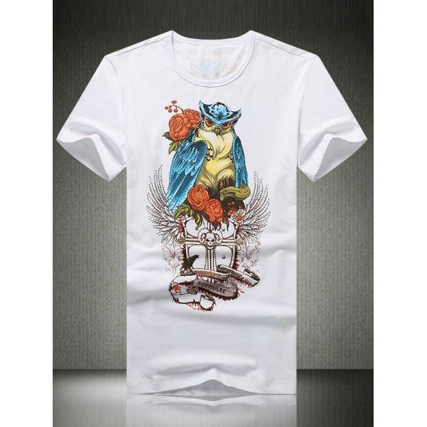 17.95$  Watch now - http://di2vm.justgood.pw/go.php?t=182733705 - 3D Owl Print Rhinestone Round Neck Short Sleeve Men's T-Shirt