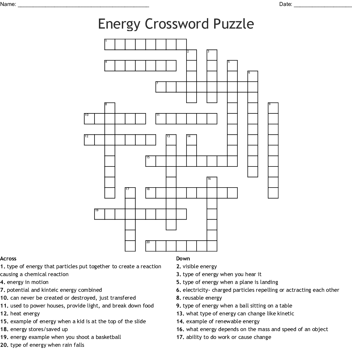 A 20 Question Printable Energy Crossword Puzzle With