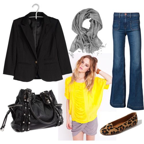 Blazer with jeans - love the bright yellow top and grey scarf