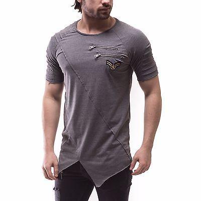 09d7dfb95 Corte Asimétrico Hombre Moda Camiseta Calce Entallado Cremallera en ...