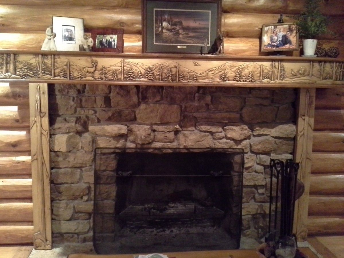 Fireplace mantel and Cabin fireplace