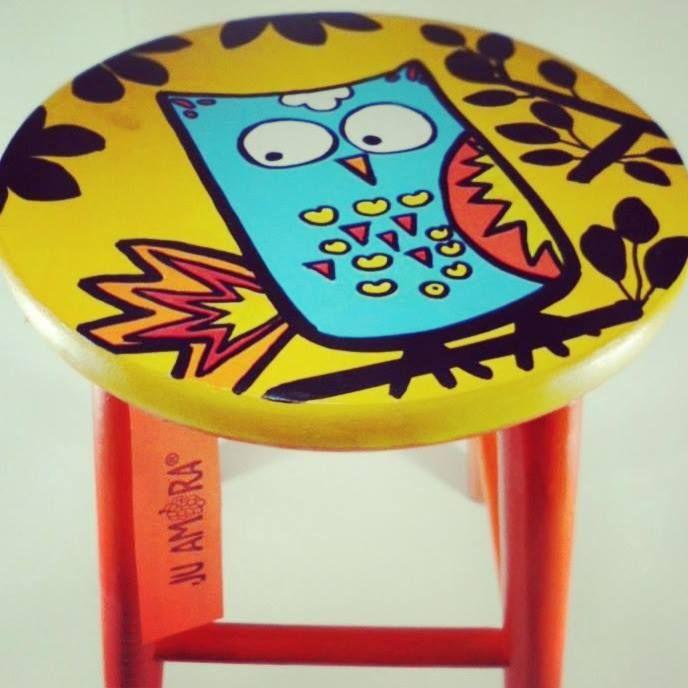 #stool #owl #yellow #banqueta #juamora #coruja