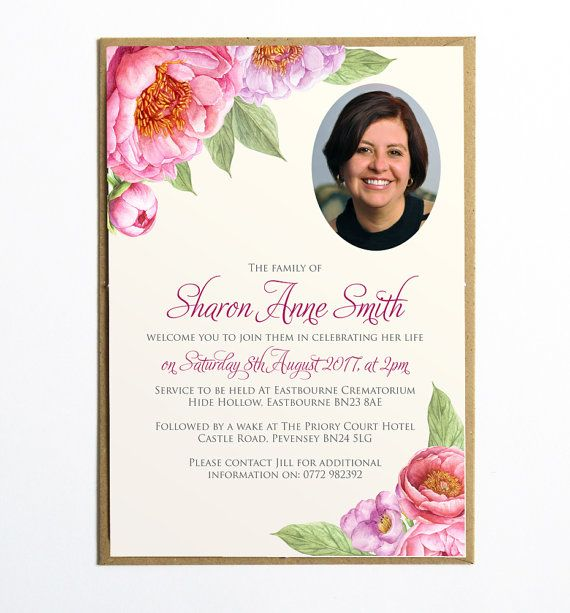 Funeral Memorial Announcement Or Invitation  Peony Memories