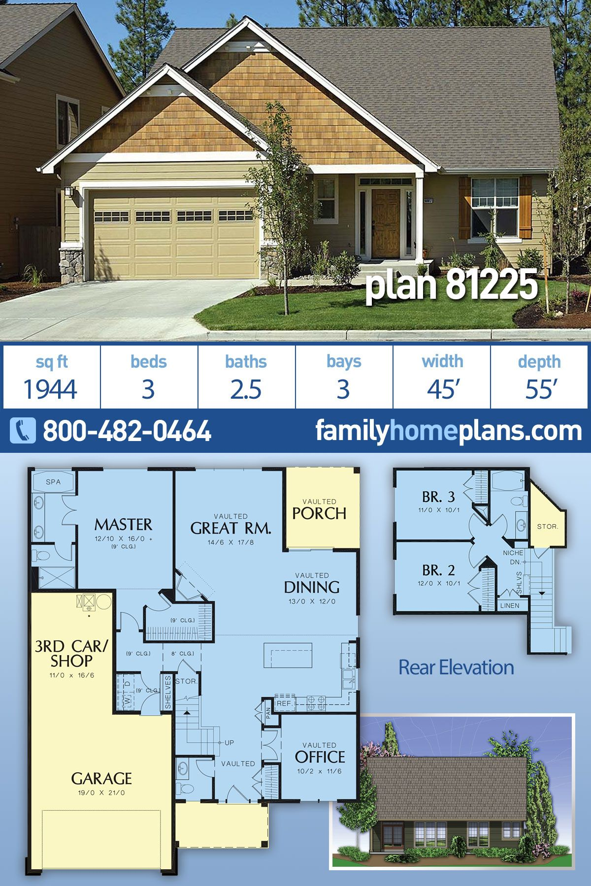 Craftsman Style House Plan 81225 With 3 Bed 3 Bath 3 Car Garage Craftsman Style House Plans Craftsman House Plan Craftsman House