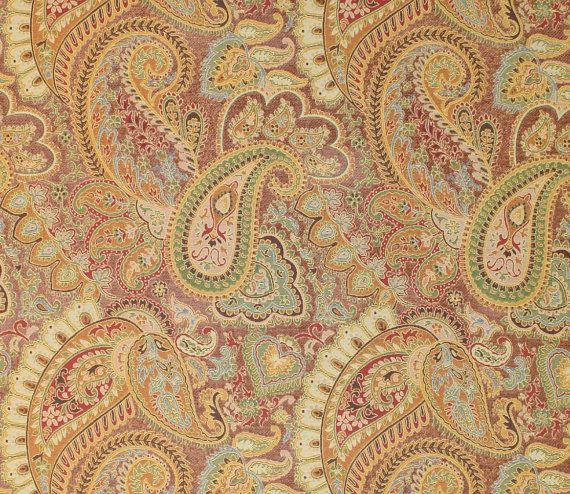 Derby peach Paisley chenille Upholstery and Drapery fabric per yard