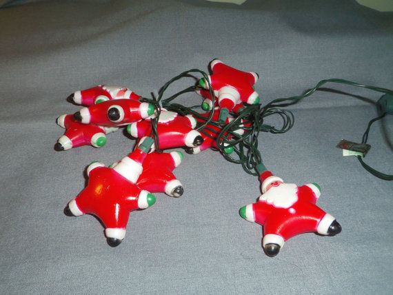 Christmas Light Covers for mini lights, 10 Santas, String is Indoor
