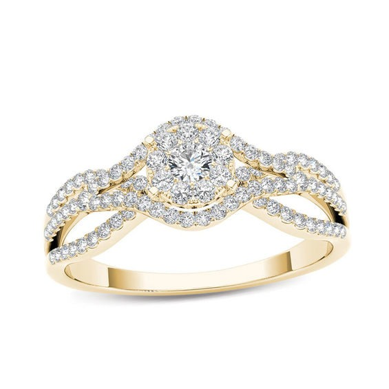 66a8a05917f 1 2 CT. T.w. Composite Diamond Frame Engagement Ring in 14K Gold ...