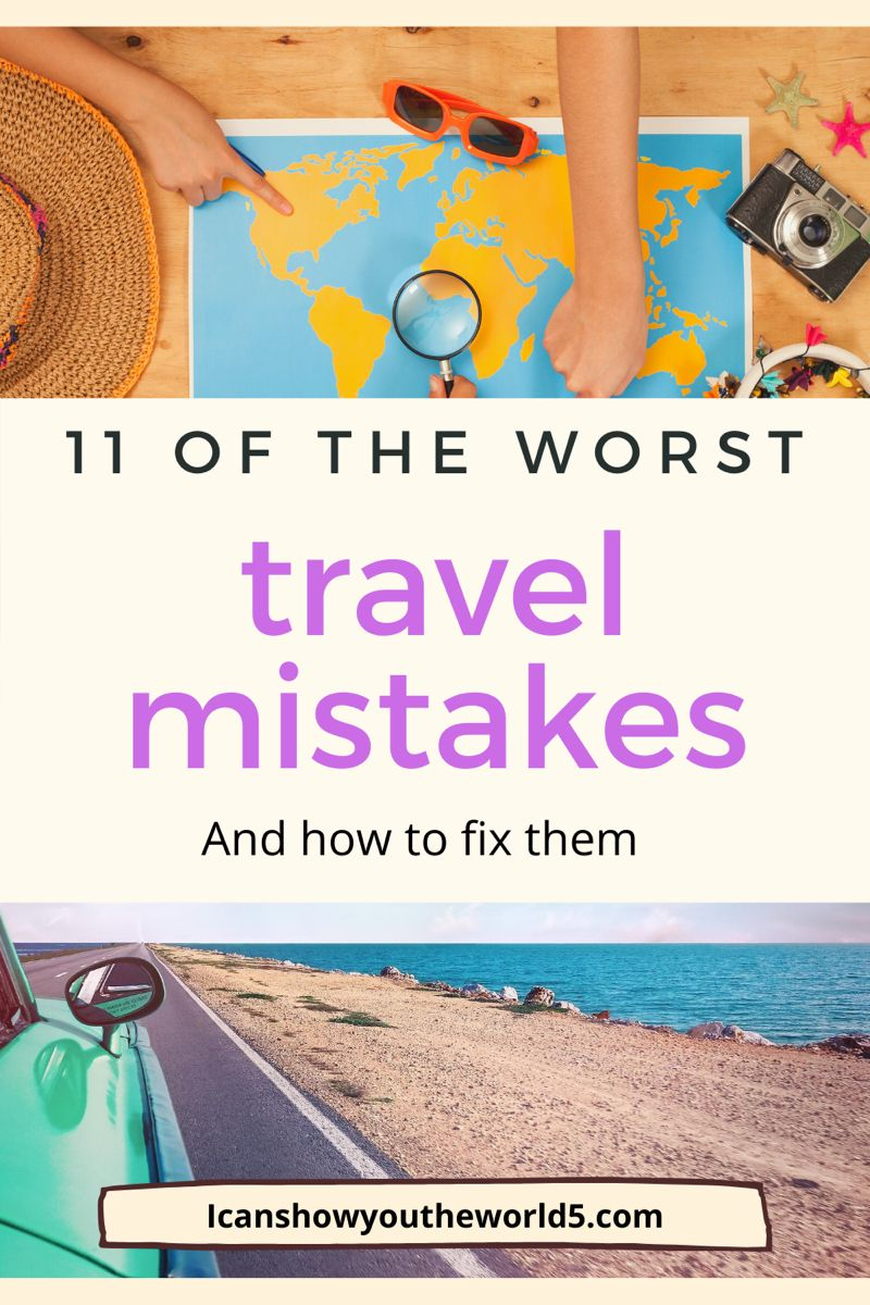 11 common travel mistakes and how to fix them! Read the list that has caught Icanshowyoutheworld5 out a few times. Travel mistakes can end up ruining a vacation. These are 11 travel mistakes to avoid and travel tips to successfully travel more worry less. From travel weather, to travel passport, travel safety tips and travel safety gadgets. Cultural diversity and local custom along with aeroplane travel hacks. Check out this post! #traveladdict #travelhacks #travelhacking