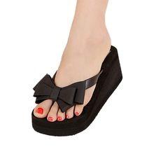 Auau Platform été mesdames tongs Thong Wedge sandales de plage noeud arc chaussures taille 36 ( US 5 )(China (Mainland))