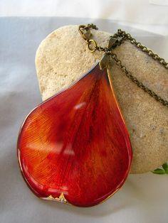 Florizi jewelry- metal, real petal, resin