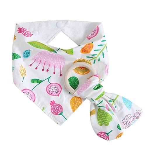 Infant Baby Wood Teether Ring Feeding Saliva Towel Dribble Triangle Bandana Bibs