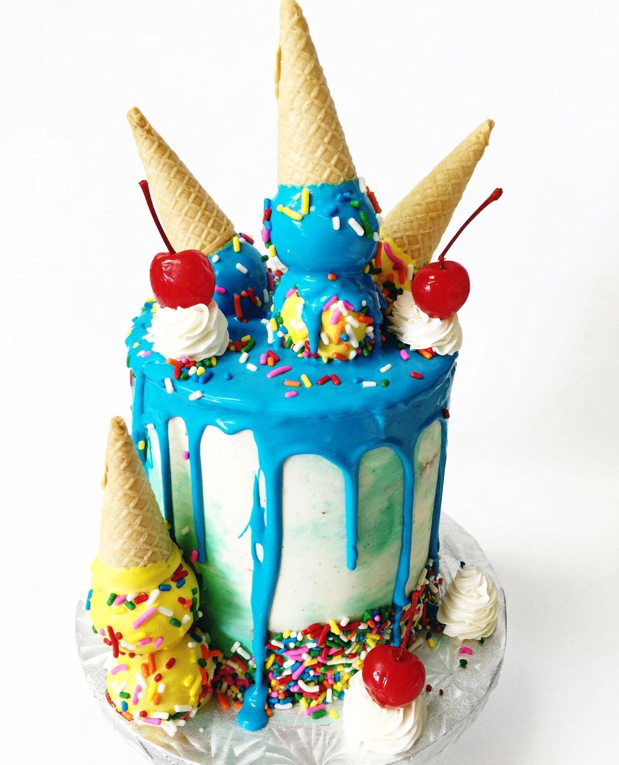 Ice Cream Drip Cake icecream cone cherries chocolate