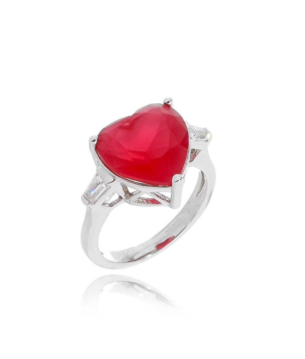 b7842ae11352e Anel de coração pedra vermelha rubi leitosa semi joia fina   Anéis ...