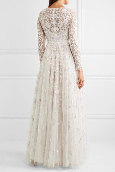 Rosette Embellished Embroidered Tulle Gown - Ivory Needle & Thread Latest Sale Online UQRfUM