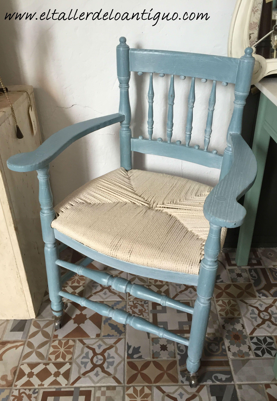 Sill N Pintado En Azul N Utico De Mary Paint Y Patina Efecto  # Muebles Nauticos