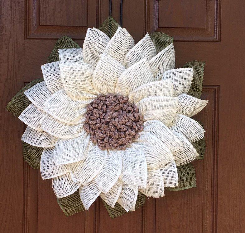 Photo of Sunflower Wreath, Burlap Sunflower Wreath, Farmhouse Wreath, Rustic Wreath, Front Door Wreath, Shabby Chic Decor