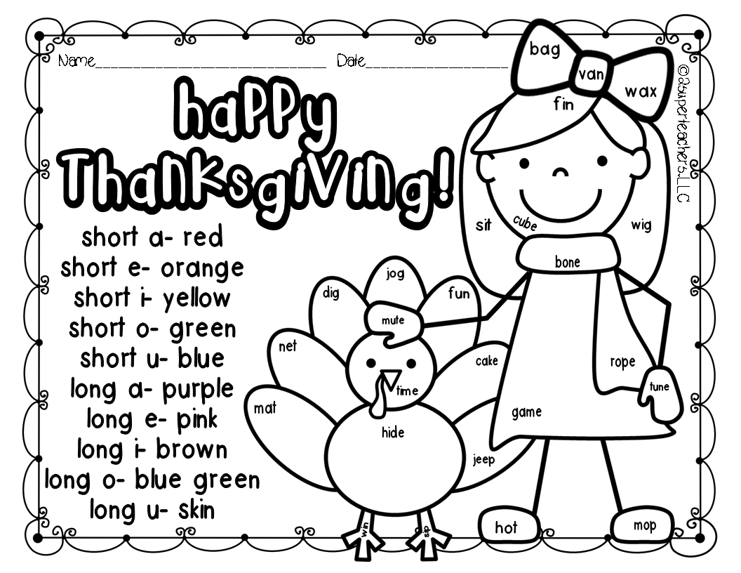 Thanksgiving Color Code Freebie