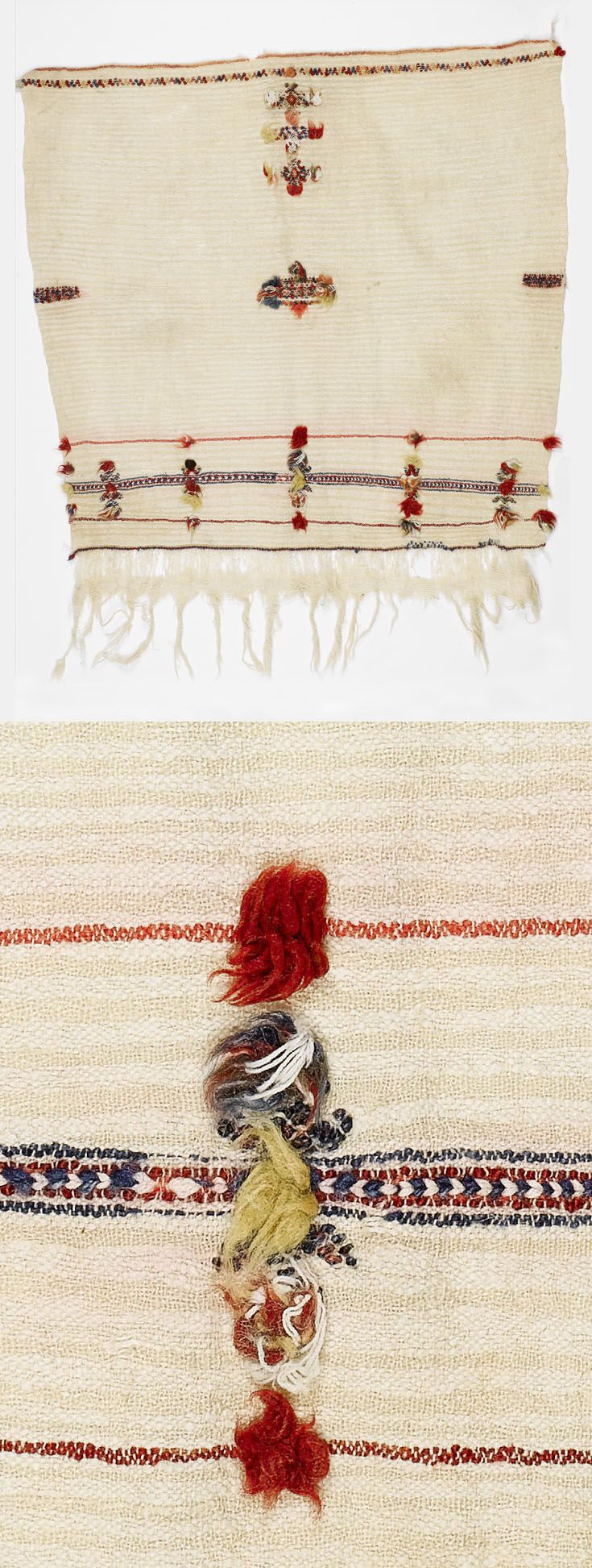 Africa | Berber woman's headscarf from the Anti Atlas region, Morocco | The cream striped ground, sparsely embroidered in red, terracotta and blue wools with bands and geometric motifs embellished with wool tufts, fringed at one end, silk, wool and cotton