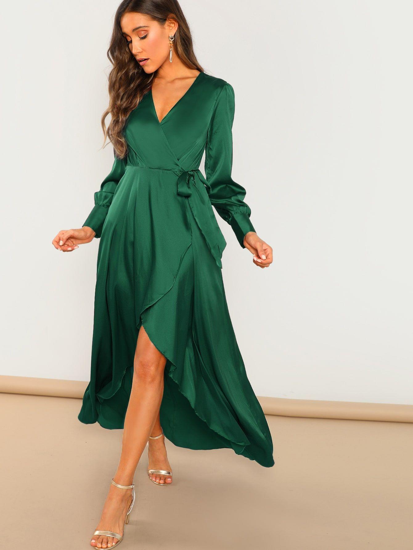 Surplice Wrap Self Tie Maxi Dress In 2021 Tie Maxi Dress Maxi Dress Party Maxi Dress [ 1785 x 1340 Pixel ]