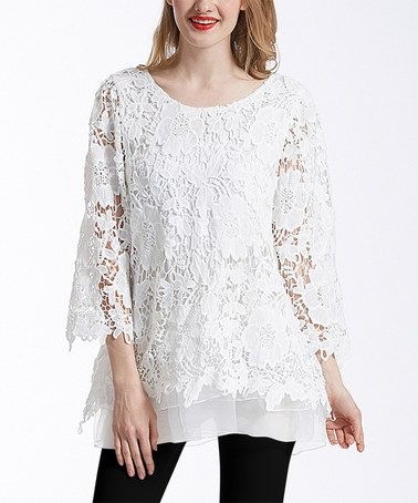 b948e312bcd Love this White Lace Bell-Sleeve Tunic by Simply Couture on #zulily ...