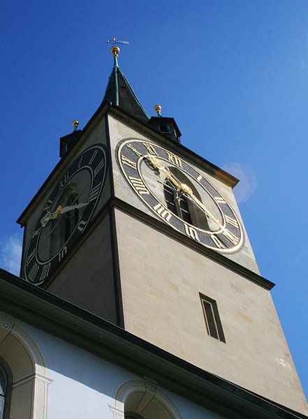 St. Peter's church, Zurich  ( Jason La / Los Angeles Times / May 29, 2012 )  Switzerland is small, but not when it comes to clocks. The country, known for its cuckoo clocks and ubiquitous watch brands, is also home to Europe's largest church clock face. Atop the tower of St. Peter's church in Zurich, you'll find four clock faces (one on each side), each measuring about 28.5 feet in circumference.