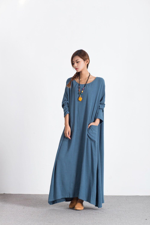 Women\'s linen maxi dress Oversize pullover Autumn Winter clothing ...