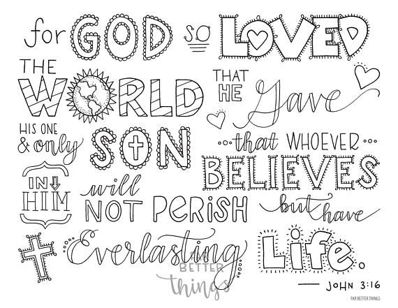 john 3 16 coloring pages Bible Verse Coloring Page   John 3:16   Printable Bible Coloring  john 3 16 coloring pages