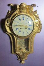 Тонкий старинный итальянский позолоты дерева картель настенные часы c. 1900 золотого листа