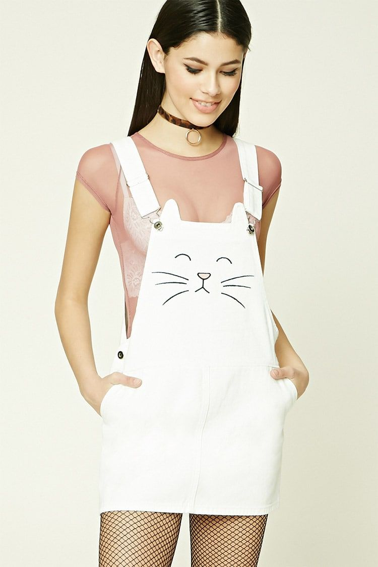 1198272b52 Forever 21 Embroidered Cat Overall Dress (White or Black) -  25 ...