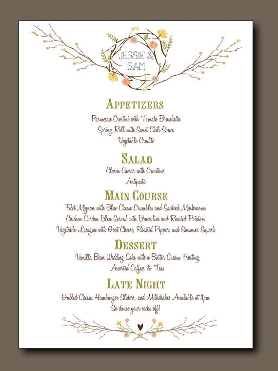 Wedding Menu - Printed Wedding Menu - Summer and Spring - formal dinner menu template