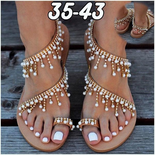 218af422a48 2019 Summer Vintage Boho Sandals Women Leather Beading Flat Sandals Women  Bohimia Beach Sandals Shoes Plus Size 36-43