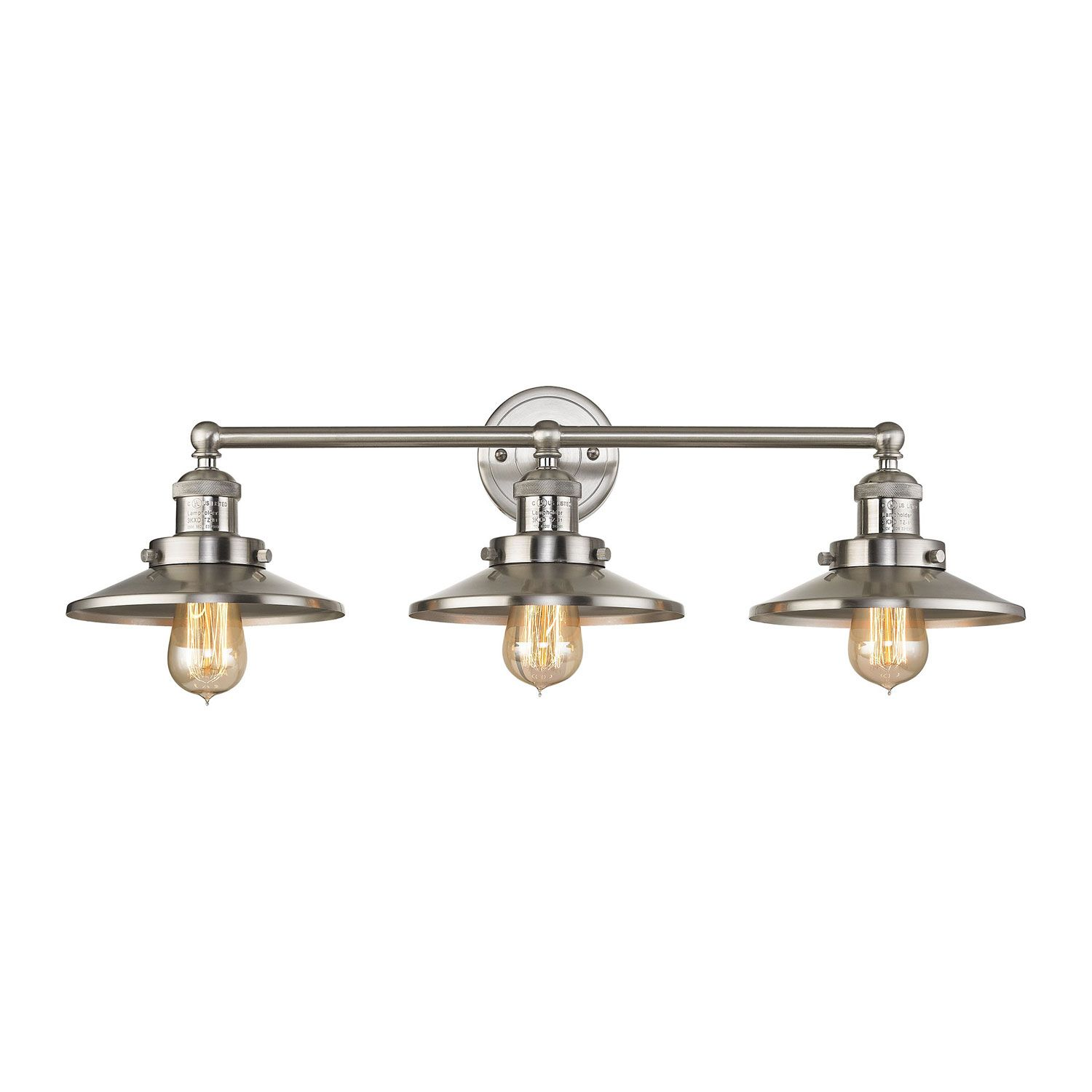 Elk Lighting English Pub Satin Nickel Inch ThreeLight Vanity - Brushed nickel bathroom light fixtures sale