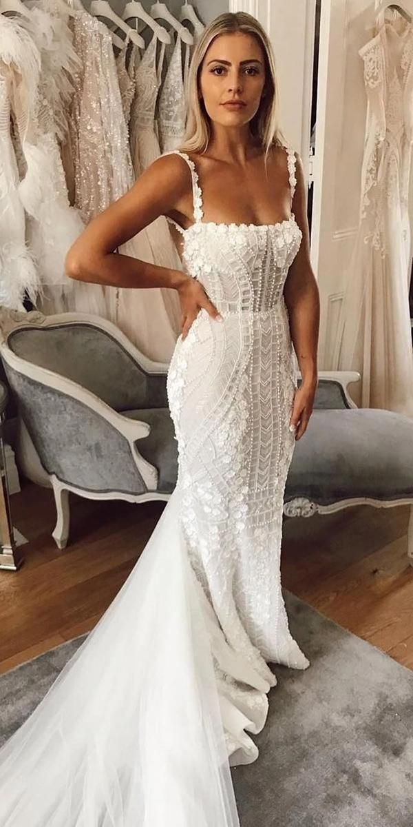 10 Wedding Dress Designers You Want To Know About Wedding Dress Designers Sheath With Spaghe Wedding Dresses Designer Wedding Dresses Dream Wedding Dresses