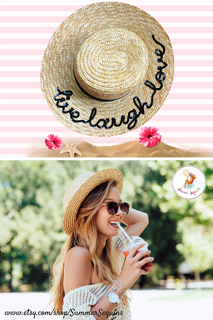 658d5d51 Live Laugh Love straw boater hat from Summer Sequins Hats on Etsy •  accessories obsessed • beach hats • straw hats • summer hats • accessories  outfit • hat ...